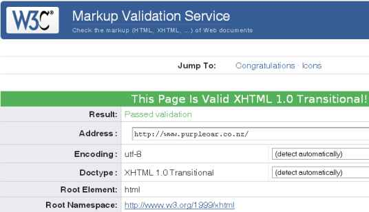 Purple Oar Software W3C no error validation image